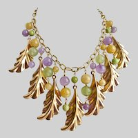 Necklace of Vintage Rose Gold Tone Leaves and Gemstone Beads, one of a kind