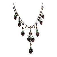 Artisan Necklace of Purple Handblown Glass Grape Clusters