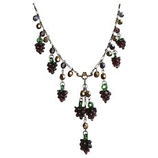 Artisan Necklace of Purple Handblown Glass Grape Clusters