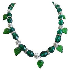 Necklace of Emerald Green Faceted Glass with Rhinestones and Vintage Glass Leaves