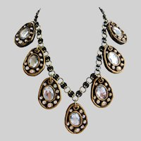 Artisan Necklace,  7 Drops of Clear Stones Set in Resin with Earrings