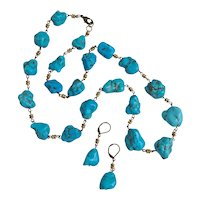 Artisan Necklace of Turquoise Nuggets with Brass Rondelles,  26 inches