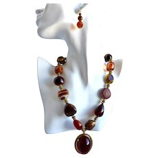 Chunky Statement Necklace with Earrings in Amber and Brown Tones with Vintage Pendant