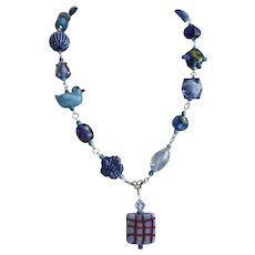 Artisan Necklace of Eclectic Blue Beads, with Earrings