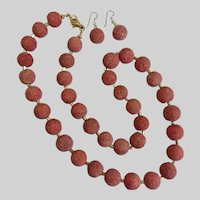 Natural Sponge Coral Necklace and Earrings,  25 Inches