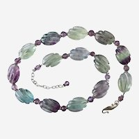 "Necklace of ""A"" Grade Rainbow Fluorite,, Sterling Silver and Amethyst,  19 to 22 Inches"