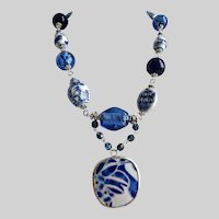 Chunky Necklace with Vintage Blue and White Chinese Porcelain Pendant
