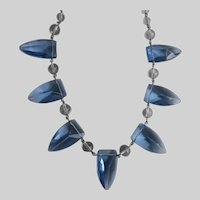 "Fan Necklace of Vintage Faceted Blue Glass ""Shields"", 19"""