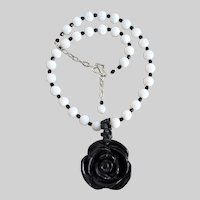 Necklace of Carved Black Stone Rose Pendant on White Glass Beads, with Earrings