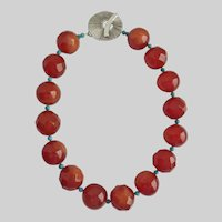 Artisan Necklace of Large Vintage Faux Carnelian Lucite and Turquoise, 19""