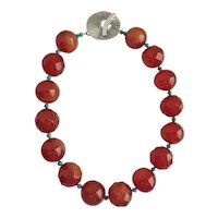 """Artisan Necklace of Large Vintage Faux Carnelian Lucite and Turquoise, 19"""""""