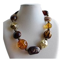 Super Chunky Necklace in Tones of Ambers and Browns