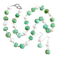 Natural Chrysoprase with Freshwater Pearls and Sterling Silver,  19.5 Inches