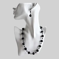Necklace of Large  French Jet Faceted Glass Beads, 20""
