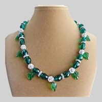 Necklace of Emerald Green Czech Faceted Glass with Rhinestones and Vintage Glass Leaves