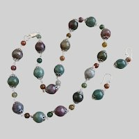 Multicolored Natural Rainbow Jasper Beads Necklace and Earrings, 22""