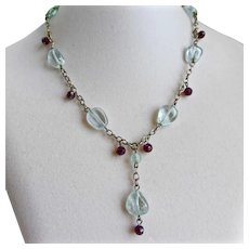 Necklace of Smooth Aquamarines and Faceted Garnet Beads,