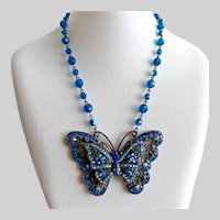 Large Japanned Filigree Butterfly Pendant with Blue Rhinestones