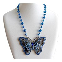 Large Japanned Filigree Butterfly Pendant with Blue Rhinestones, with Earrings