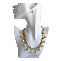 Gold Tone Chain Choker Necklace  with Faux Glass Pearl Drops