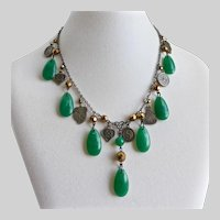 Necklace of Vintage Peking Glass Teardrops and Chinese Charms, One of a Kind