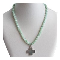 "Vintage  Taxco Sterling Silver Cross and Jade Beads, 17.5""––21"""
