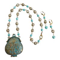 """Metal Mini Purse with Patina and Vintage Filigree Beads, 20"""""""