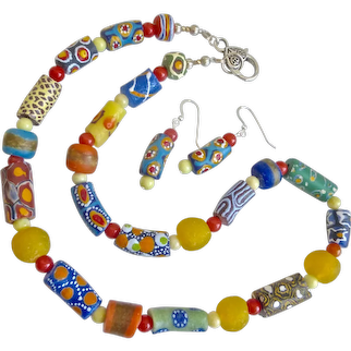 """Necklace of Colorful African Krobo Glass Beads, 22"""""""