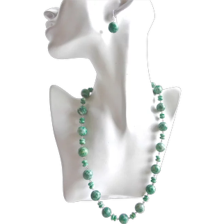 """One of a Kind Necklace of Large Qinghai Jade Beads with Earrings, 22 """""""