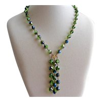 """Necklace of Three Strand Drops of Faceted Iridescent Green Beads with Earrings, 20"""""""