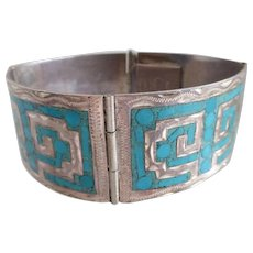 Vintage Mexican Sterling Silver and Turquoise Mosaic Inlay Cuff Bracelet