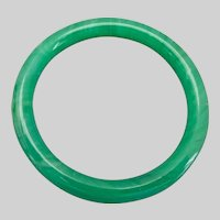 Apple Green Peking Glass Bangle Bracelet,
