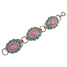 """Big and Beautiful Three Part Gold Tone bracelet with Pink and Turquoise Color Cabochons, Estate, 8"""""""