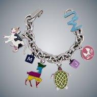 """Marc Jacobs Signed Charm Bracelet, Estate, 7 1/2"""""""