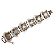 Vintage Mother of Pearl and Filigree Bracelet