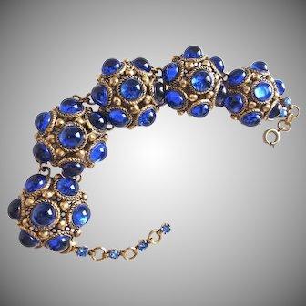 "Mid Century Cobalt Blue Glass Domed Bracelet, 8"""