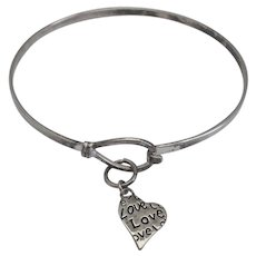 Delicate Sterling Silver Bangle Bracelet with Heart Charm