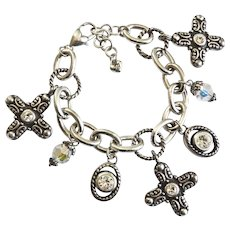 Brighton Bracelet of Silver Tone Crosses and Crystals