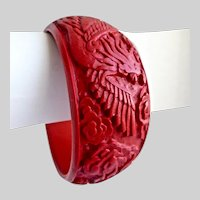 Intricately Carved Wide Cinnabar Bangle Bracelet