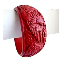 Intricately Carved Wide Cinnabar Bangle Bracelet