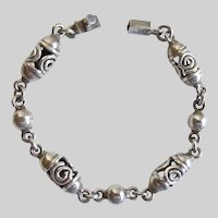 """Taxco Mexican Sterling Silver Artisan Bracelet, 8.5"""" Unisex"""