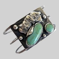 Unusual Vintage Native American Sterling Silver and Turquoise Bracelet