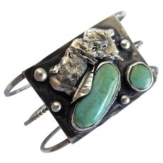 Unusual Vintage Native American Sterling and turquoise Bracelet