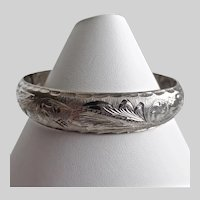 Sterling Silver Vintage Mexican Hinged Bangle Bracelet