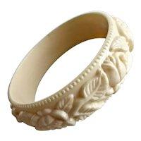 Bangle Bracelet of Cream Color Molded Lucite