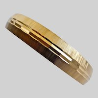 Monet Gold Tone Bangle Bracelet with Diamond Cut and Brushed Textures