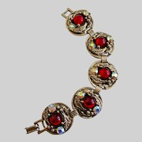 Mid Century Five Medallion Linked Ruby Glass Bracelet, 7""