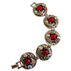 "Mid Century Five Medallion Linked Ruby Glass Bracelet, 7"""