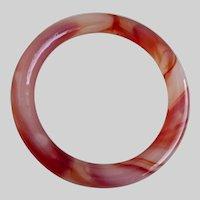 Reddish Brown and Milky White Peking Glass Bangle Bracelet