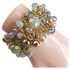 Opulent Woven Cuff Bracelet of Crystals, Glass and Metal Beads